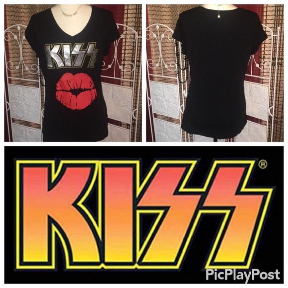 Project Karma Tops - Kiss 💋 Band Xl Juniors Black V Neck T Shirt